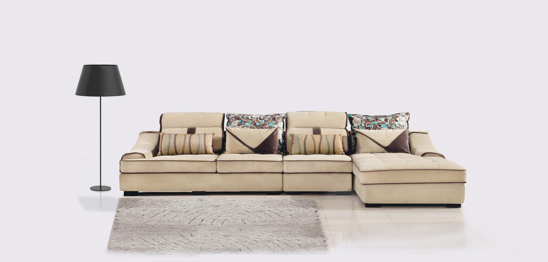 Living room corner sofa in beige